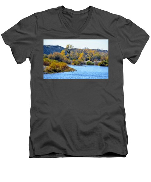 Men's V-Neck T-Shirt featuring the photograph Fall Color On The Yuba  by AJ Schibig