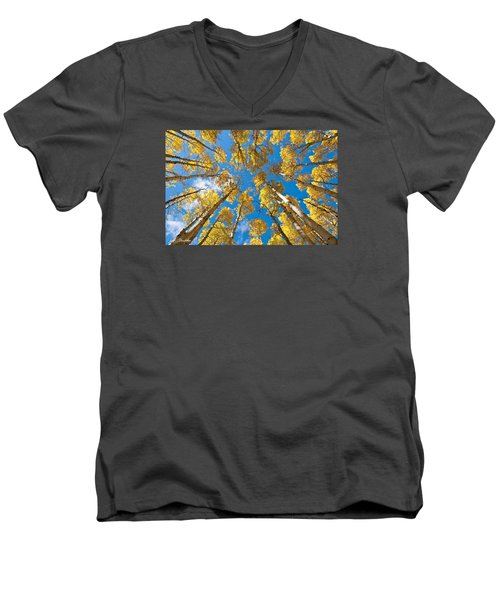 Fall Colored Aspens In The Inner Basin Men's V-Neck T-Shirt