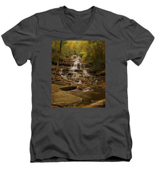 Fall Colors At Minnehaha Falls Men's V-Neck T-Shirt by Barbara Bowen