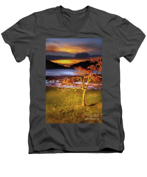 Fall Colors At Sunrise In Otter Blue Ridge Ap Men's V-Neck T-Shirt by Dan Carmichael