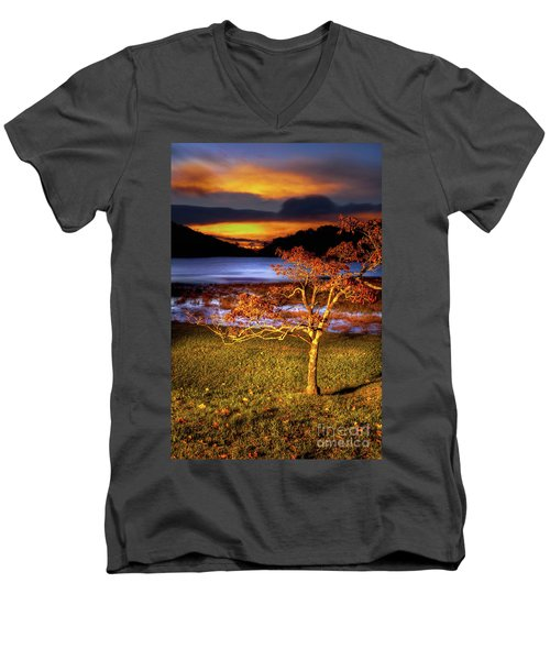 Men's V-Neck T-Shirt featuring the photograph Fall Colors At Sunrise In Otter Blue Ridge by Dan Carmichael