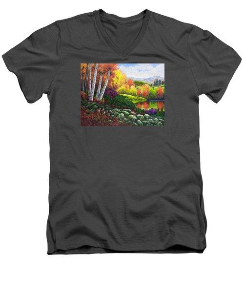 Fall Colors Men's V-Neck T-Shirt by Michael Frank