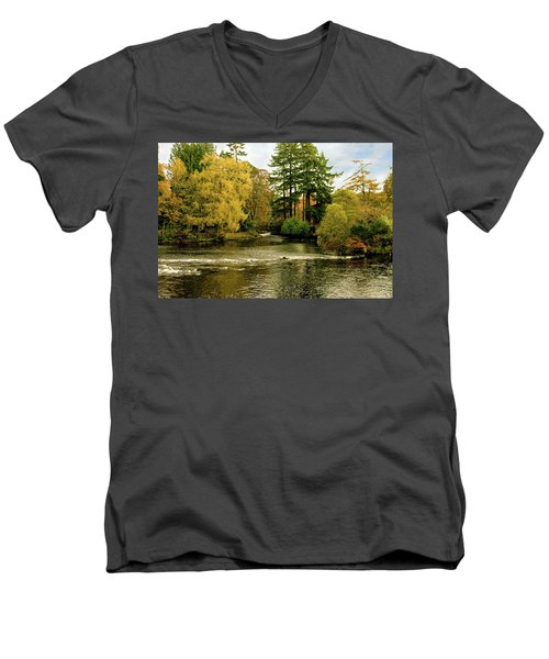 Fall Colour On The River Ness Islands Men's V-Neck T-Shirt by Jacqi Elmslie