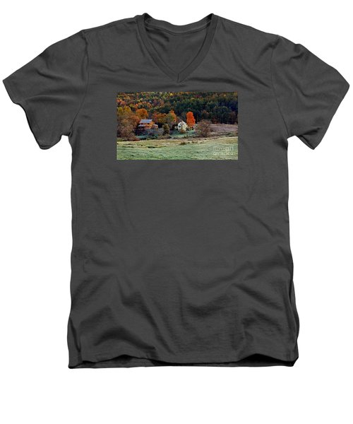 Men's V-Neck T-Shirt featuring the photograph Fall Country Side - Vt2015 by Joe Finney