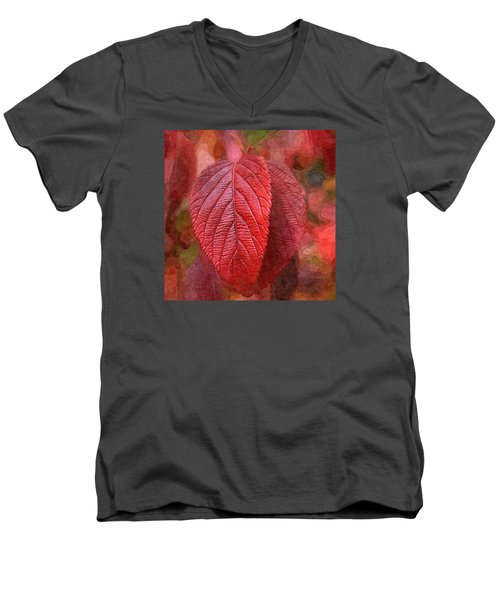 Men's V-Neck T-Shirt featuring the photograph Fall Crimson by Nick Kloepping