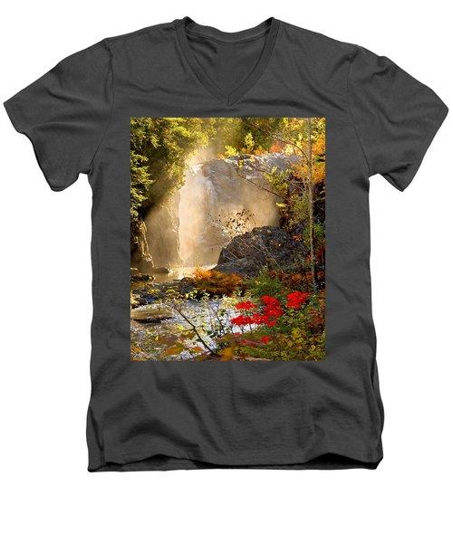 Fall Falls Mist  Dead River Falls  Marquette Mi Men's V-Neck T-Shirt by Michael Bessler