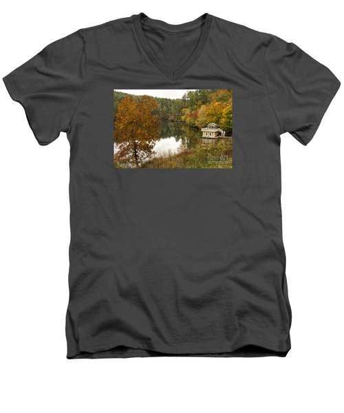 Fall Fishing Men's V-Neck T-Shirt by Barbara Bowen