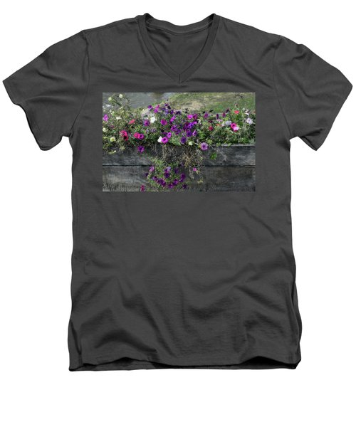 Men's V-Neck T-Shirt featuring the photograph Fall Flower Box by Joanne Coyle