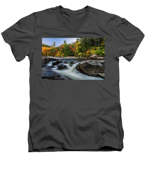 Fall Foliage Along Swift River In White Mountains New Hampshire  Men's V-Neck T-Shirt