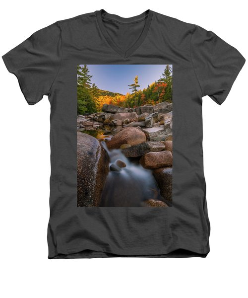 Men's V-Neck T-Shirt featuring the photograph Fall Foliage In New Hampshire Swift River by Ranjay Mitra