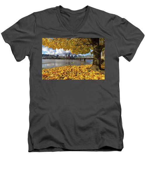 Fall Foliage With Portland Oregon City Men's V-Neck T-Shirt