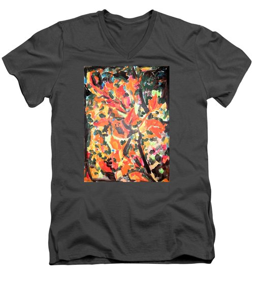 Fall Forest In Red And Black Men's V-Neck T-Shirt by Esther Newman-Cohen
