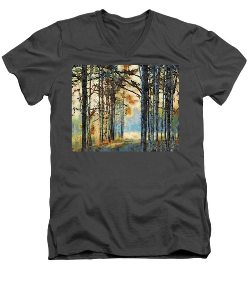 Fall Forest Watercolor Men's V-Neck T-Shirt