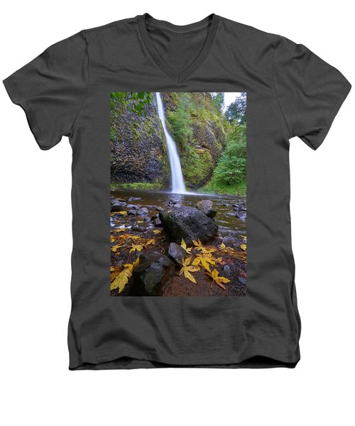 Men's V-Neck T-Shirt featuring the photograph Fall Gorge by Jonathan Davison