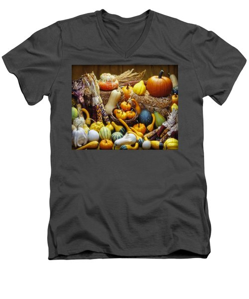 Men's V-Neck T-Shirt featuring the photograph Fall Harvest by Martin Konopacki