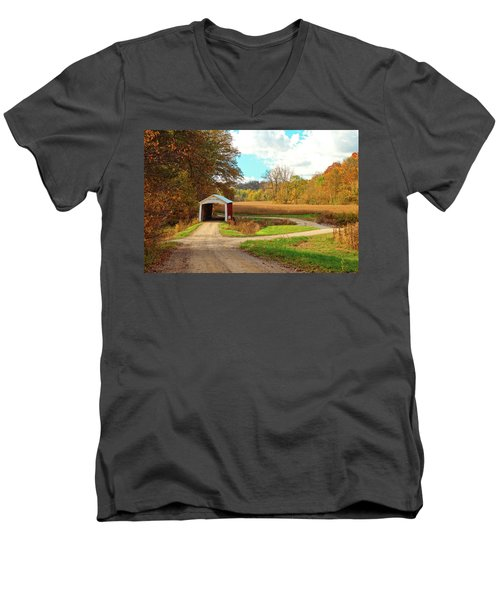 Men's V-Neck T-Shirt featuring the photograph Fall Harvest - Parke County by Harold Rau