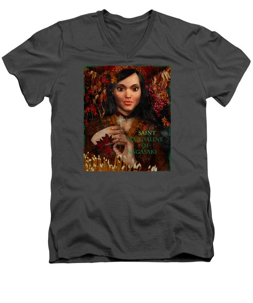 Men's V-Neck T-Shirt featuring the painting Fall Holidays Magdalene Of Nagasaki by Suzanne Silvir