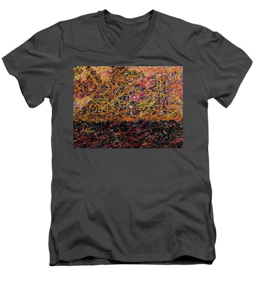 Men's V-Neck T-Shirt featuring the digital art Fall Homage To Jackson by Walter Fahmy