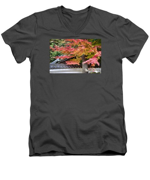 Men's V-Neck T-Shirt featuring the photograph Fall In Japan by Tad Kanazaki