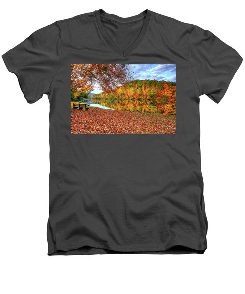 Men's V-Neck T-Shirt featuring the digital art Fall In Murphy, North Carolina by Sharon Batdorf
