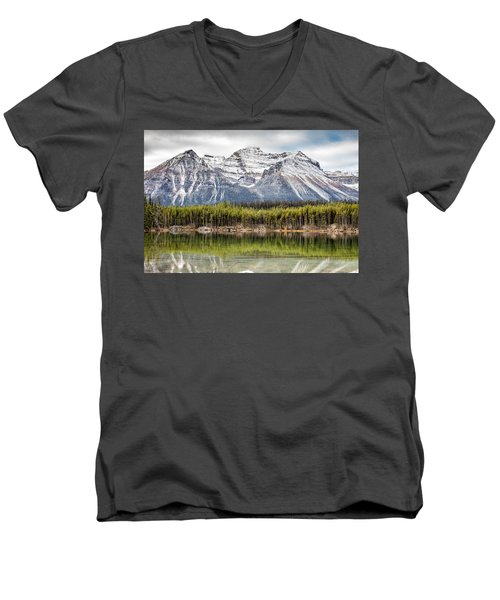 Fall In The Canadian Rockies Men's V-Neck T-Shirt by Pierre Leclerc Photography