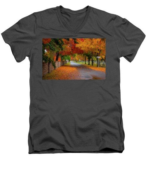 Fall In The Cemetery Men's V-Neck T-Shirt