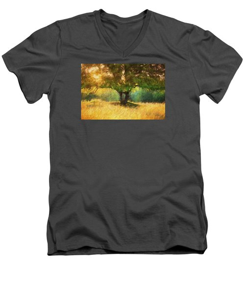 Fall In The Meadow Men's V-Neck T-Shirt by Rena Trepanier