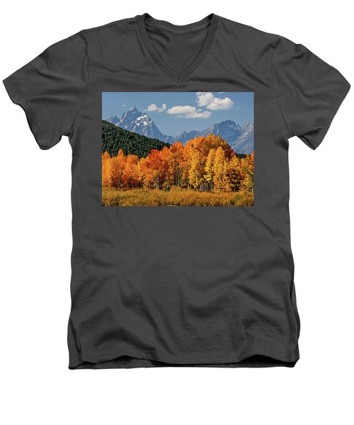 Men's V-Neck T-Shirt featuring the photograph Fall In The Tetons by Wesley Aston