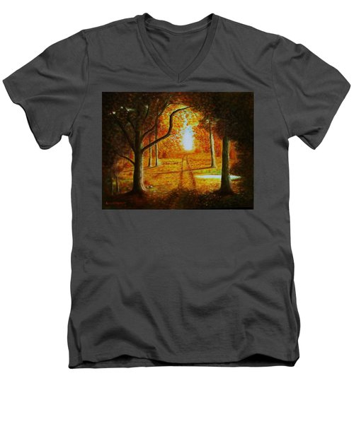 Fall In The Woods Men's V-Neck T-Shirt