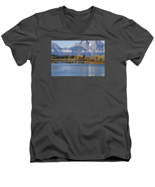 Men's V-Neck T-Shirt featuring the photograph Fall Inteton -3 by Shirley Mitchell