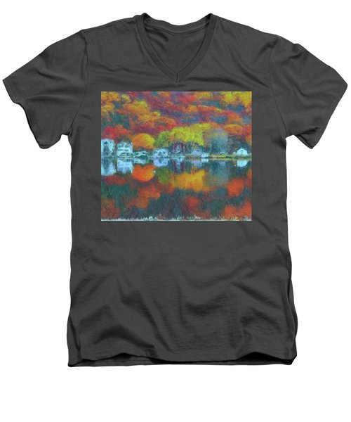 Men's V-Neck T-Shirt featuring the painting Fall Lake by Harry Warrick