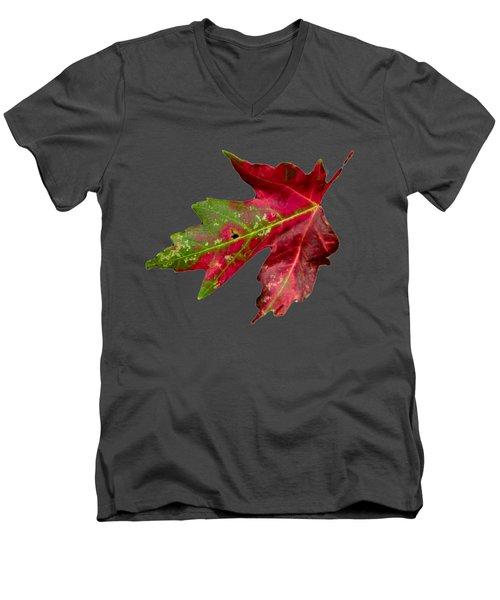 Fall Leaf Men's V-Neck T-Shirt by Judy Hall-Folde