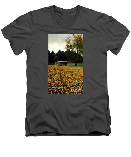 Men's V-Neck T-Shirt featuring the photograph Fall Leaves - No. 2015 by Joe Finney