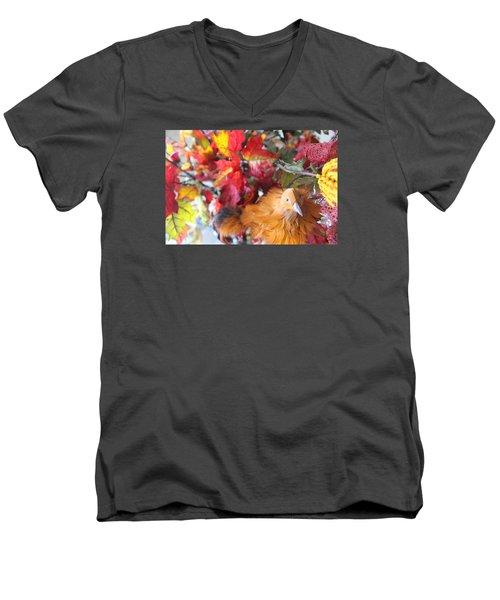 Fall Leaves W/bird Men's V-Neck T-Shirt