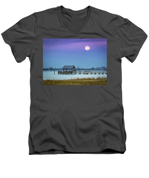 Men's V-Neck T-Shirt featuring the photograph Fall Moon And King Tide - Charleston Sc by Donnie Whitaker