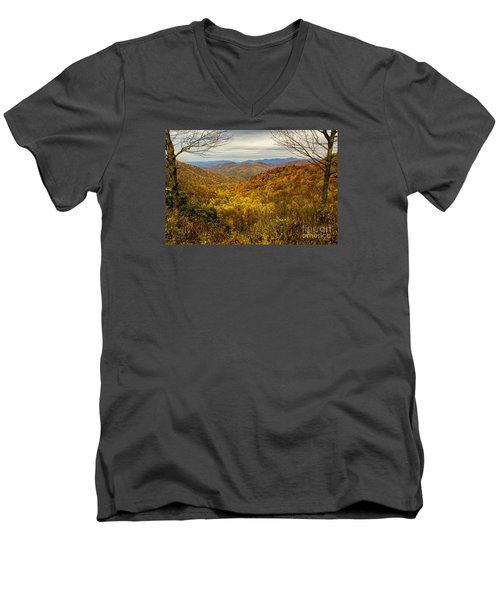 Fall Mountain Overlook Men's V-Neck T-Shirt by Barbara Bowen