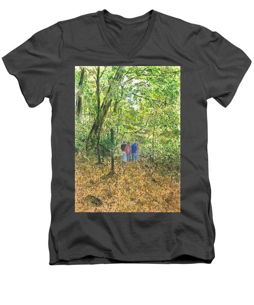 Men's V-Neck T-Shirt featuring the painting Fall Nymphs - IIi by Joel Deutsch
