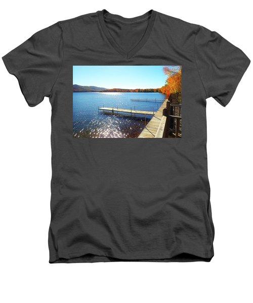 Fall On Lake Dunmore Men's V-Neck T-Shirt