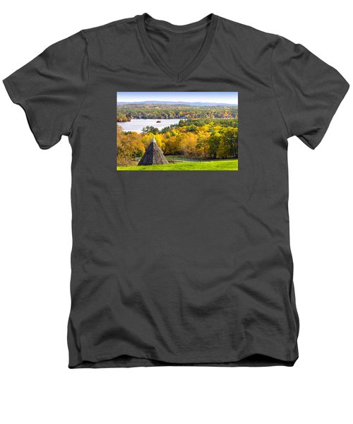 Men's V-Neck T-Shirt featuring the photograph Fall On Lake Winnipesaukee At Center Harbor by Betty Denise
