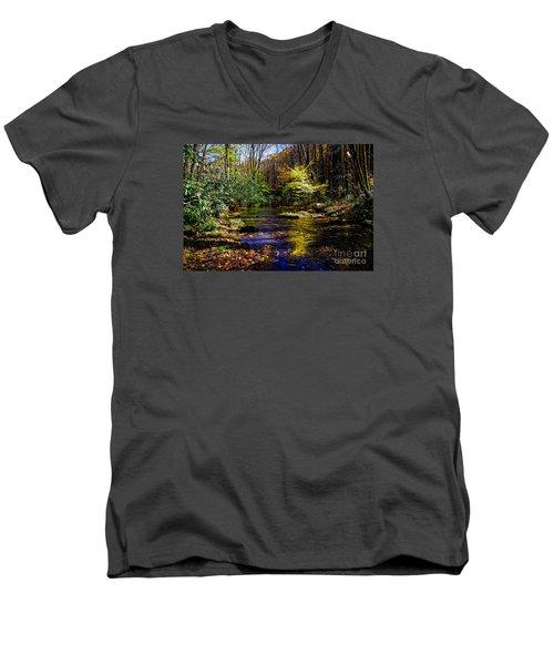 Fall On Rough Creek Men's V-Neck T-Shirt by Paul Mashburn