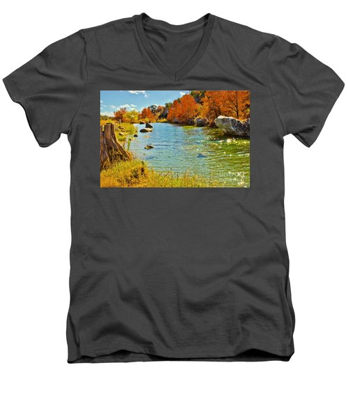 Fall On The Medina River Men's V-Neck T-Shirt