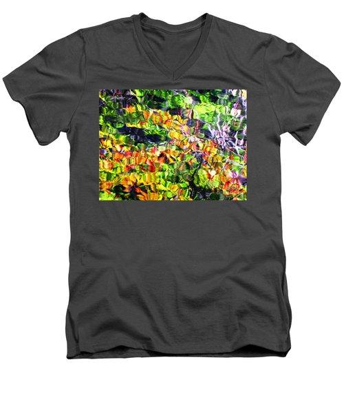 Fall On The Pond Men's V-Neck T-Shirt by Melissa Stoudt