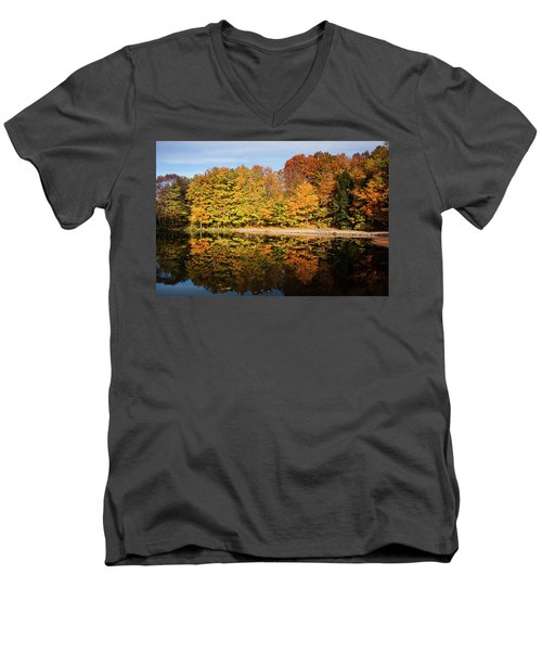 Fall Ontario Forest Reflecting In Pond  Men's V-Neck T-Shirt