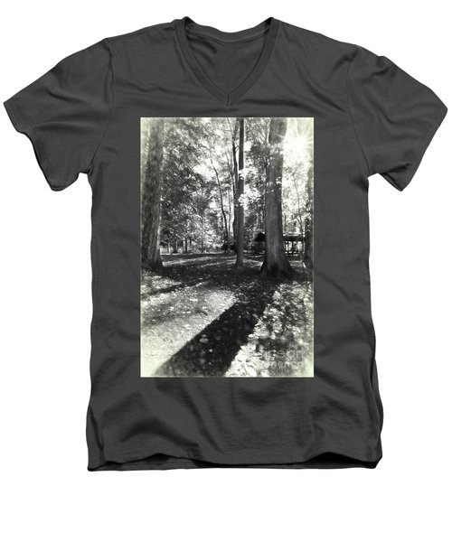Fall Picnic Bw Painted Men's V-Neck T-Shirt by Judy Wolinsky
