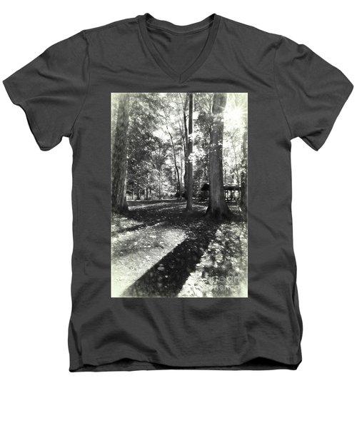 Fall Picnic Bw Painted Men's V-Neck T-Shirt