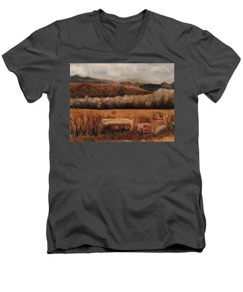 Fall Plains Men's V-Neck T-Shirt by Sharon Schultz