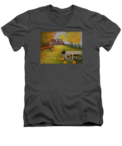 Fall Pumpkin Harvest Men's V-Neck T-Shirt