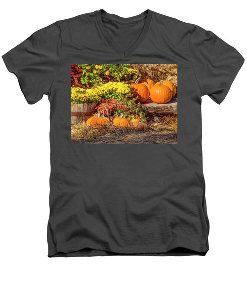 Men's V-Neck T-Shirt featuring the photograph Fall Pumpkins by Carolyn Marshall