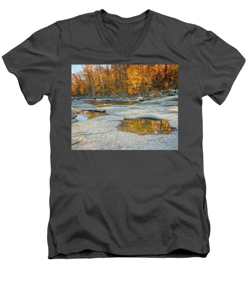 Men's V-Neck T-Shirt featuring the photograph Fall Reflection by Alan Raasch