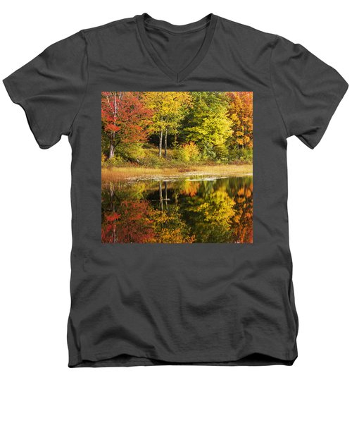 Men's V-Neck T-Shirt featuring the photograph Fall Reflection by Chad Dutson